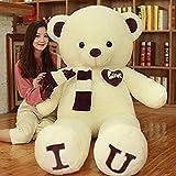 HYAKURIぬいぐるみ 特大 くま/テディベア 可愛い熊 動物 大きい/巨大 くまぬいぐるみ/熊縫い包み/クマ抱き枕/お祝い/ふわふわぬいぐるみ (C, 100cm)