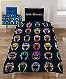 Power Rangers Ninja juego de funda de edredón de acero para niños, diseño de cascos, juego de cama reversible incluye funda de almohada a juego