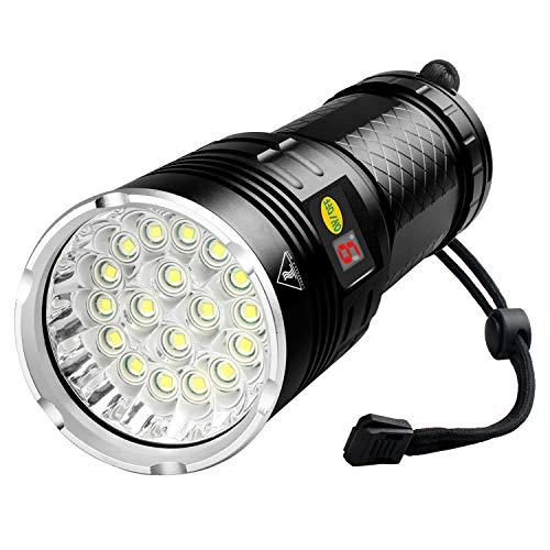 18 LEDs Flashlight 10000 Lumen, Type-C Rechargeable, Bright Flashlight High Lumens, Powerful Flashlight with Battery Power Display