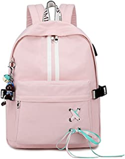 School Backpack Unisex Classic Large Capacity Outdoor Backpack Hiking Backpack QDDSP (Color : Pink, Size : B)