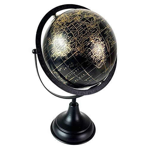 Mojawo Erdkugel Globus Atlas Weltkugelb Weltkarte Dekoration mit Metallsockel Standglobus Schwarz Gold Ø20xH35cm
