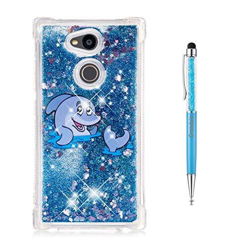 Preisvergleich Produktbild Grandoin Sony Xperia L2 Hülle,  3D Bling Flüssig Fließende Schwimmende Shiny Sparkle Crystal TPU Silikon Schutz Handy Hülle Etui Schale Schutzhülle für Sony Xperia L2 (Delphin)