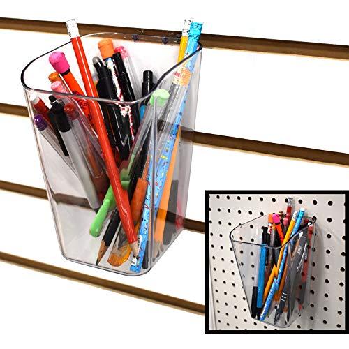 Pen Cup for Pegboard & Slatwall - Acrylic Bucket Bin - 2 Pack