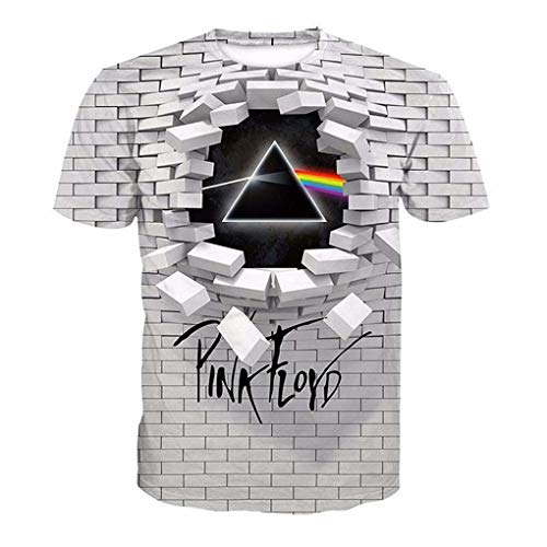 T-shirts Creative Wall Pink Floyd 3d Printing Round Neck Loose Short Sleeve Large Size Top T-shirt Couple T-shirt, XL