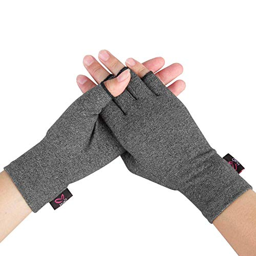 2 Pairs Compression Arthritis Gloves, Open Finger Hand Gloves for Women Men, Fingerless Design to Relieve Pain from Rheumatoid and Osteoarthritis (Gray, Small)