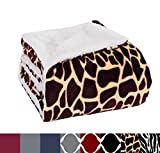 Elegant Comfort Luxury Micro-Sherpa 50' X 60' Ultra Plush Giraffe Design Throw/Blanket