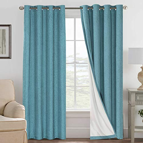 H.VERSAILTEX Linen Blackout Curtains 84 Inches Long 100% Absolutely Blackout Thermal Insulated Textured Linen Look Curtain Draperies Anti-Rust Grommet, Energy Saving with White Liner, 2 Panels, Teal