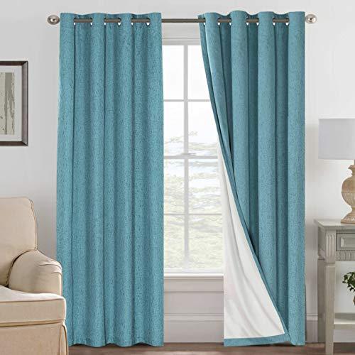 H.Versailtex Cortina opaca 100% resistente al moho y aspecto de lino, ojales en la parte superior para sala de estar/dormitorio (2 paneles de 52 x 84 pulgadas, color blanco)