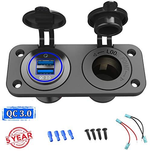 QC 3.0 USB Steckdose KFZ 12V/24V, Quick Charge 3.0 Auto Ladegerät Einbau Buchse Wasserdicht Zigarettenanzünder USB Dose Kfz Adapter für Wippschalter Panel auf Motorrad Boot LKW Wohnwagen ATV