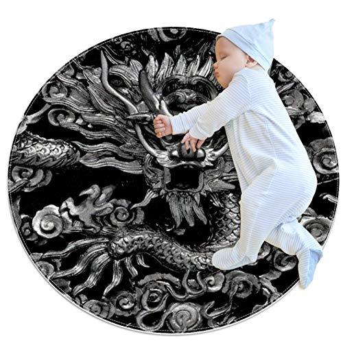 Indimization dragón Blanco Negro Alfombra Redonda Alfombra Redonda decoración Arte Antideslizante niños Lavables a máquin Suave Sala Estar Dormitorio de Juegos para 100x100cm