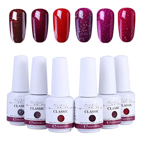 Roseslady Gel Nail Polish Kit - Nail Art Gel Nail Polish, 6Pc Gel Nail Polish Set UV LED Gel Nail Art Kit Perfect Charm Color 8ml Suitable for Professional Use or Home Use