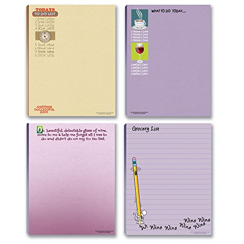 Funny Wine Theme Notepads - 4 Assorted Note Pads - Wine & Coffee Humor