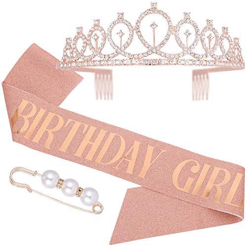 Veraing Geburtstags-Krone Schärpe Geburtstags Kristall Tiara Krone Geburtstags Krone Birthday Crown Prinzessin Haar-Zusätze für Frauen Party Accessoires (Krone + Schärpe)