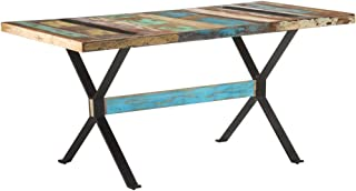 vidaXL Table de Salle à Manger Table de Cuisine Table à Dîner Table de Repas Meuble de Cuisine Intérieur 160x80x76cm Bois ...