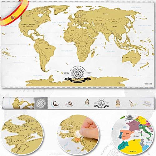 Póster del mapa-mundi de rascar con tubo de regalo 82 x 45 cm XXL - Mapa mundial extragrande personalizado y todas las banderas del país - Detalles cartográficos - incluye una herramienta para rascar
