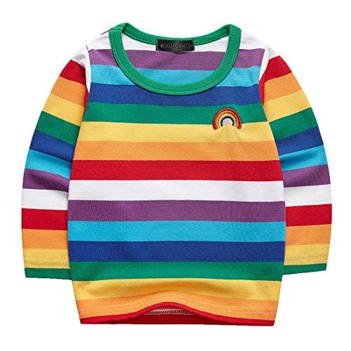Sooxiwood Boys T-Shirt Striped Rainbow Long Sleeve Size 12M L-Rainbow