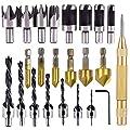 "Rocaris 23-Pack Woodworking Chamfer Drilling Tool, 6pcs 1/4"" Hex 5 Flute 90 Degree Countersink Drill Bits, 7pcs Three Pointed Countersink Drill Bit with L-wrench, 8PCS Wood Plug cutter, and Automatic"