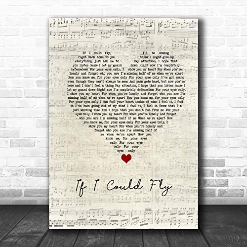 Als ik kon vliegen Script Heart Song Lyric Quote Muziek Poster Print Medium A4
