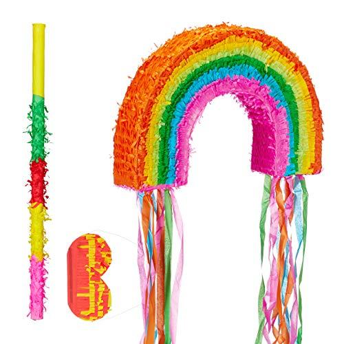 Relaxdays Piñata Arcoíris sin Relleno con Palo y Antifaz, Papel, Multicolor, 35 x 53 x 9 cm