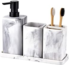 zccz Bathroom Accessory Sets, 4 Pieces Bathroom Accessories Complete Set Vanity Countertop Accessory Set with Marble Look,...