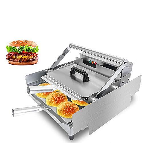 Tostadora eléctrica Pan de hamburguesa Parrilla Eléctrica, Doble capa Máquina de calentamiento completamente automática Máquina de pan, Controlador de temperatura 50-300 ℃