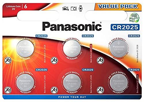 Corp. Panasonic Panasonic CR2025 Pila botón de Litio 3V, 165mAh, Blister de 6