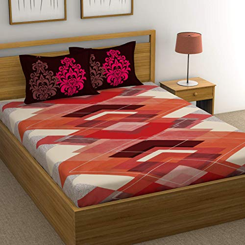 HUESLAND by Ahmedabad Cotton 144 TC 100% Cotton Double Bed Sheet with 2 Pillow Covers – 90 x 96 inches, Red, Brown & Orange