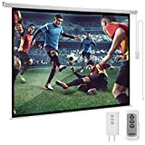 YODOLLA 120inch Motorized Projection Screen, 4:3 4K 3D HD Electric Projector Screen, Wall/Ceiling Mounted White Projection Screen with Two Remote Controls for Indoor & Outdoor Use