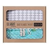 LULANDO Babydecke Kuscheldecke Krabbeldecke aus 100% Baumwolle (80x100 cm). Super weich und flauschig. Kuschelige Lieblingsdecke für Ihr Baby. Farbe: Mint - Grey diamond