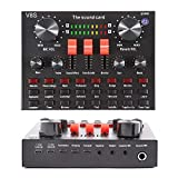 Mini Sound Mixer Board Voice Changer Sound Card for live Streaming with Multiple Sound Effects Music Recording Broadcast on Cell Phone Computer Laptop and Tablet (V8S)