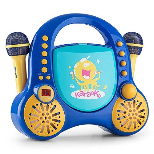 auna Rockpocket equipo de karaoke infantil (dos micrfonos, lector CD, bordes y esquinas redondeados, pegatinas para decorar) - azul