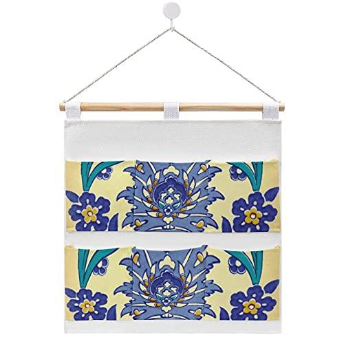 Bolsa de almacenamiento para colgar en la pared, diseño de monograma Azulejo de cerámica, estilo vintage, con 6 bolsillos para la familia, baño, dormitorio, cocina