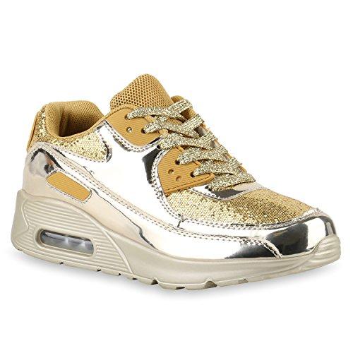 stiefelparadies Trendige Unisex Lauf Damen Herren Kinder Sport Metallic Glitzer Camouflage Sneaker Bunt Schnür Sport Turn Schuhe 117412 Gold 38 Flandell