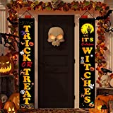 Halloween Decorations Outdoor, Trick or Treat & It's October Witches Halloween Banner Signs for Front Door or Indoor Home Decor, Porch Decorations Welcome Signs
