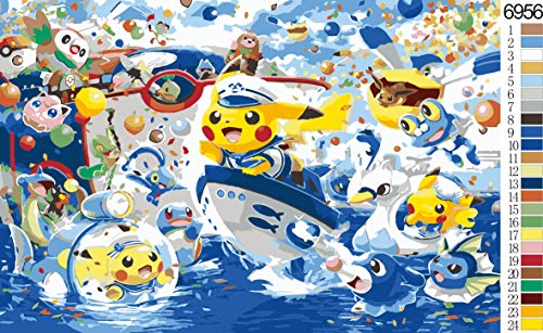Paint by Number Kits Canvas DIY Oil Painting for Kids, Students, Adults Beginner with Brushes and Acrylic Pigment -Pokémon Japanese Anime Pikachu Animated Character (6956, 20x24 no Frame)