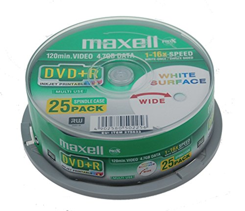 Maxell DVD+R Rohlinge (16x Speed, 4,7GB, 120 Min, 25er Spindel)