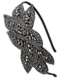 Flapper Headband 1920s Gatsby Leaf Hair Accessory for Women, Grey