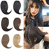 2 PCS 100% Real Human Hair Clip In On French Natural Wave Side Bangs Extensions Natural Look Hair Piece Fringe Hair Extensions For Lady Girl Women #27 Dark Blonde 8g/pcs
