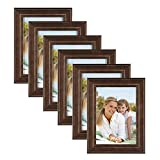 DesignOvation Kieva Solid Wood Picture Frames, Distressed Espresso Brown 5x7, Pack of 6