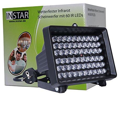 INSTAR IN-905 V2 LED Infrarot Scheinwerfer Spotlight Flutlicht (940nm unsichtbare LEDs, 80 Grad) in schwarz