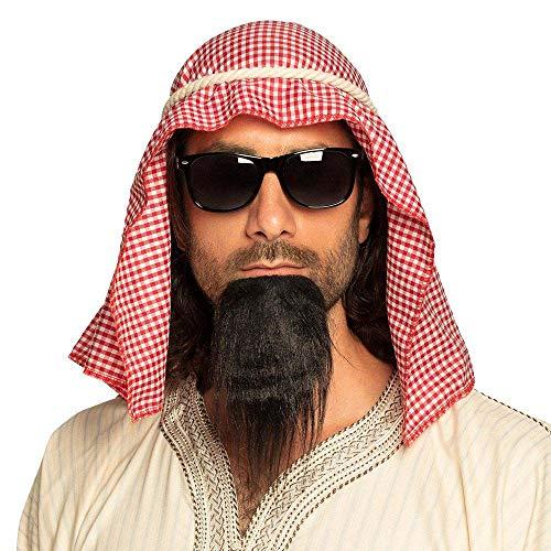Boland sheik scarf+rope+glasses+goatee 81034  Set de disfraz de Scheich, pauelo, cuerda, gafas, barba de encaje, rabe, Sultan, fiesta temtica, carnaval, multicolor