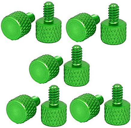 DealMux tarjeta gráfica del equipo # 6 -32 pulgar Tornillos de cabeza plana Knurled 10pcs verdes