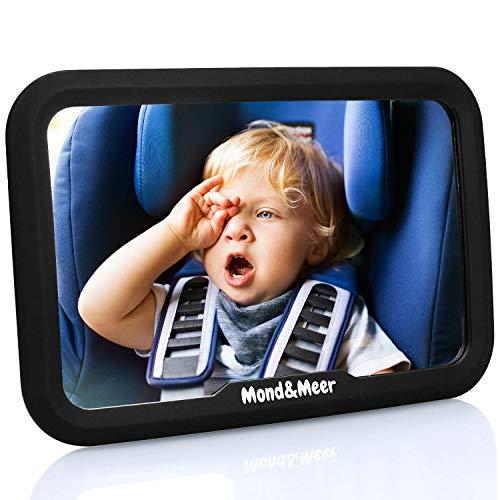 Mond&Meer Rücksitzspiegel für Babys - 360° schwenkbar - bruchsicherer, flexibler Baby Rückspiegel für das Auto (kompatibel mit Babyschale & Maxi Cosi)