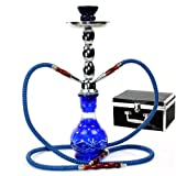 GSTAR Deluxe Series: 17' 2 Hose Hookah Complete Set w/Travel Case (Royal Blue)