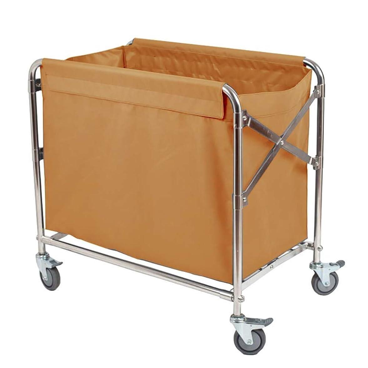 神経マディソンいじめっ子ホテルのための仕事の家のカート用具の折る洗濯の選別機のカート、普遍的なブレーキ車輪が付いている麻布の圧延カート
