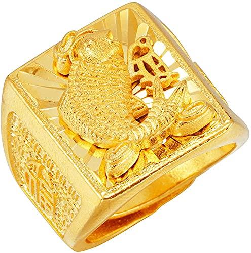 Anillo para Hombre, Joyería Koi Tallado a Mano, Ajuste Cómodo, Anillos de Oro de 24 K de Dubai para Hombre, Anillo de Boda Ancho, Anillo Ajustable de 22 Mm, DTTX001