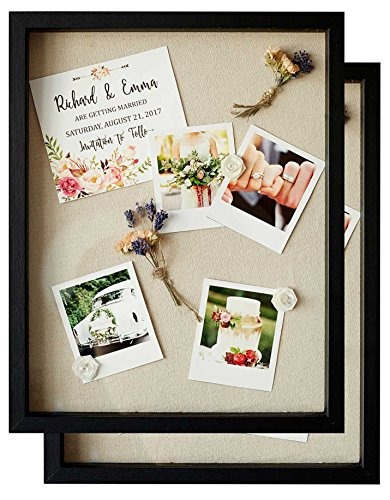 Shadow Box Display Case - Set of 2 Deep Wood & Glass Shadowbox Frame 11x14 with Linen Board -...