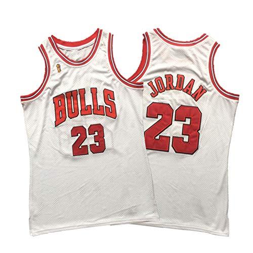 Michael Jordan Jersey Shirt, Chicago Bulls Camisetas De Baloncesto para Hombre, 23 Flying Man 96-97 Championship Logo Mesh Retro White Denso Bordado M