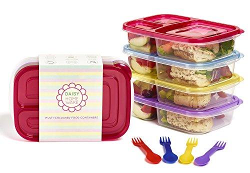 [Paquete con 4] Multicolor respetuoso con el medio ambiente 3Compartimento fiambrera recipiente con cuchara a juego y tenedor Lavavajillas, microondas y reutilizable de Daisy Home Ware
