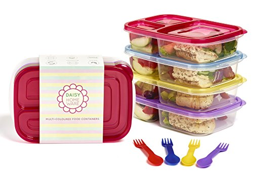 4unidades Premium Multicolor ecológico con 3compartimentos Lunch Box Recipientes de colores a juego Sporks, Microondas, lavavajillas y reutilizable por Daisy hogar